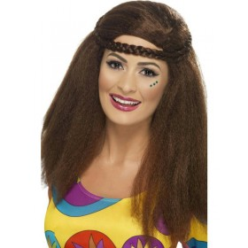 Peluca Hippie chick afro larga